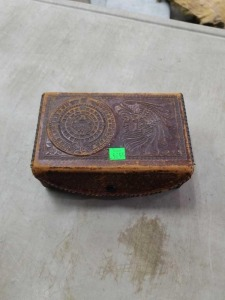 Antique Leather box and contents