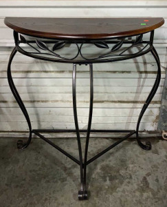 Iron Base Wood Top Half Moon Accent Table 32x16x31