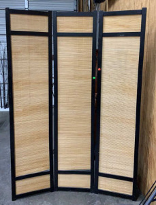 Black Frame Bamboo Folding Privacy Screen 3 Panels