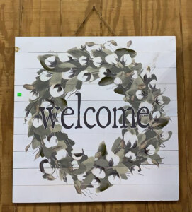 Welcome 30x30 Whitewash Wood Wreath Sign