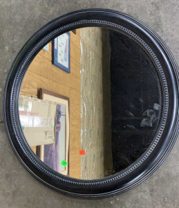 "25"" Across Round Black Framed Mirror"