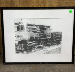 Sante Fe Engine No. 5 Signed Artwork 21x16.5
