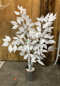 Lighted White Tree Branch In Metallic Flower Pot