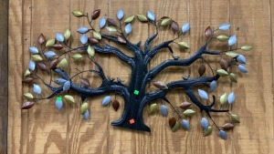 Multi Colored Metal Tree Wall Hanging 43x24