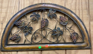 Grapevine Half Window Metal Wall Decor 29x17