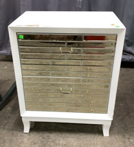 White With Mirrored Drawers Night Stand Has Damage