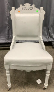 Painted Victorian Side Chair On Casters 20x17x36