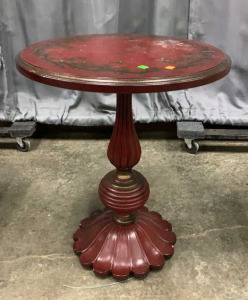 Decorator Red Crackle Paint Pedestal Table