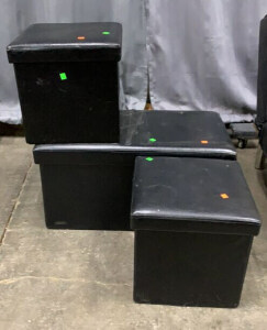 3 Pc Folding Vinyl Storage Ottomans With Lids