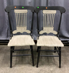 Pair Of Painted Side Chairs 22x21x40 With