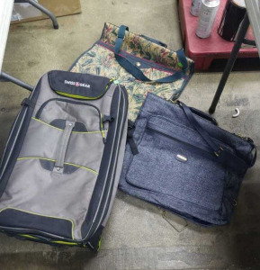 Stadium Seat, Swiss Gear Luggage Bag, 2 Suit Bags