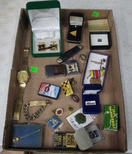 Flat Of Cuff Links, Watch, Lighters, Pocket Knife,