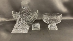 "5 Pcs Waterford: 6.5"" Basket; Bowl; Pr Place Card"