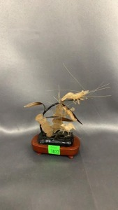 "Asian  4.5"" Tall Art Work: 3 Shrimp, Water Plants"