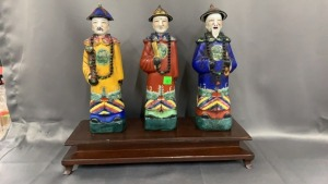 "3 11"" Tall Polychrome Ceramic Asian Figures On"