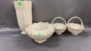 "4 Pcs Lenox: 9.5"" Vase + Vegetable Bowl + Pr Of"
