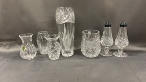 7 Pcs Waterford: Salt/pepper; 4 Vases; Mug; 9""
