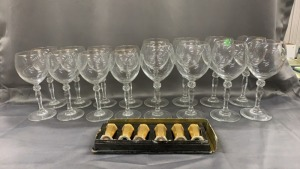 8 + 8 Gold Rim Water & Wine Goblets + 6 Pickard