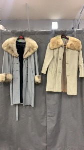 2 Chas Anger Leather Ladies Coats Fur Trim