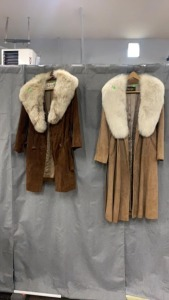 1 Vincents 1 Chas Anger Fur Trim Suede Coats