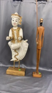 "Asian Figure On Stand (arms Cracked) 28"" Tall"