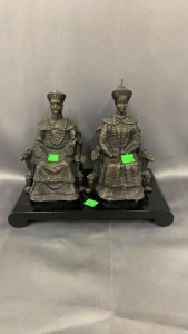 Pr Metal Asian Figures On Thrones; Black