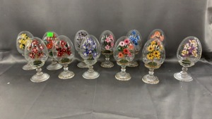 12 Franklin Mint Glass Eggs W/ Flowers; Austria