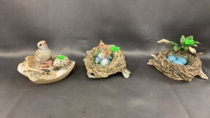 3 Boehm Bird Figurines: Blue Jay Nest With