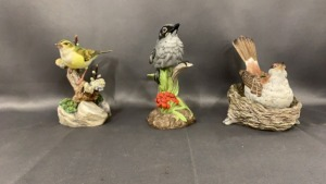 3 Boehm Bird Figurines: Wood Thrust Nest; Baby