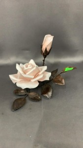 Boehm Sheer Bliss: Rose With Metal Leaves