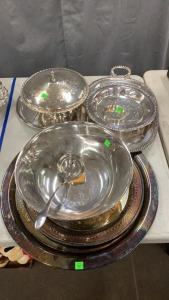 7 Pcs Silverplate Hollowware: Punch Bowl;