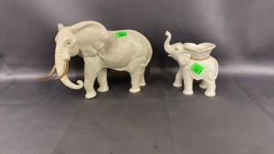 2 Ceramic Lenox Elephants - One Is Candleholder