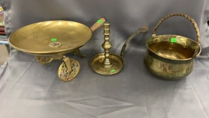 "Brass Candlestick And 6"" Pot + Shallow Bowl On"