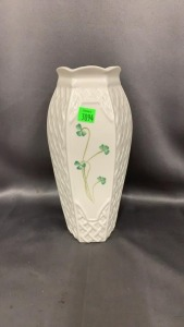 "Belleek Green Mark Vase 10"" Tall"