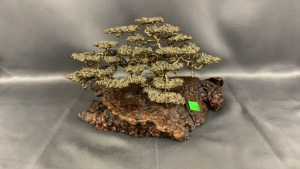 "Le Blanc Metal Sculpture Bonsai On Burl 6.5"" Tall"