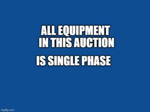 Equipment Info Lot. Equipment is Single Phase, See Photos For HP Ratings, and Other Info