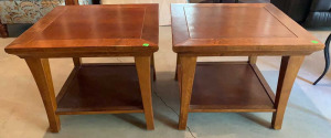 Pair Of Wooden End Tables 22x22x18.5 Tall