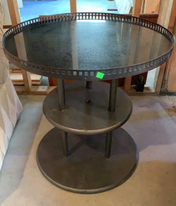 3 Tier Round Table With Gallery Edge 26.5x27.5
