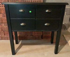 2 Door Black Side Cabinet With Missing Bottom