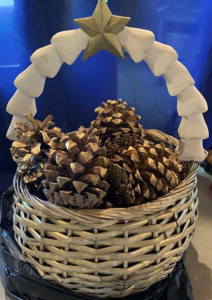 "Painted Basket With Gold Pine Cones 23"" Tall"