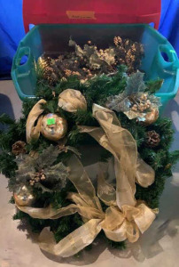 "Gold Christmas Wreath 22"", With Tree Accents"