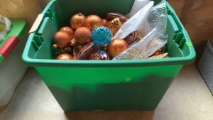 Tote Of Amber, Blue, Gold, Christmas Ornaments