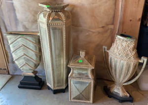 4 Metallic Gold Vases Largest Is 24""