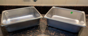 Pair Of Stainless Insert Pans 10x12x4
