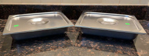 Pair Of Stainless Insert Pans 10x12x2 With Lids