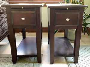 Pair Of Lane 1 Drawer & Drink Tray  End Tables