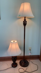 "59"" Floor Lamp, And Matching Table Lamp 26"""